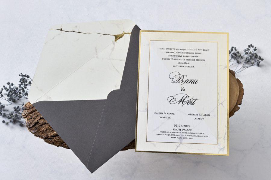 mermer desenli davetiye modeli